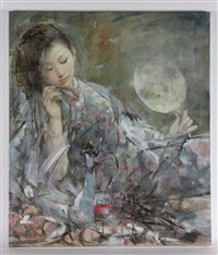 portrait of a young chinese woman with her hair down to one side, holding round mirror in left hand and leaning head on right hand by xu zhigang