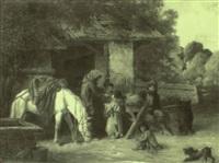gauklerfamilie vor offenem scheunentor by rudolf hausleithner