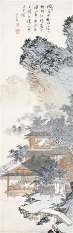 春山闲居图 dwelling in spring mountains by pu ru