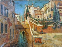 venice scene with canal by w. livingston anderson
