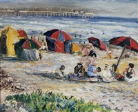 figures on laguna beach with the pier beyond by richard franz kollorsz