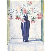 stillleben mit nelken in blauer vase by traugott senn