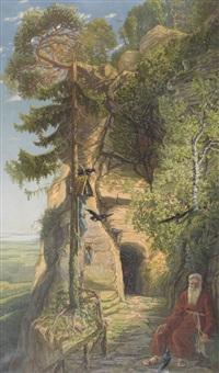 höhlenlandschaft mit meinrad von einsiedeln by eugen meyer-belart