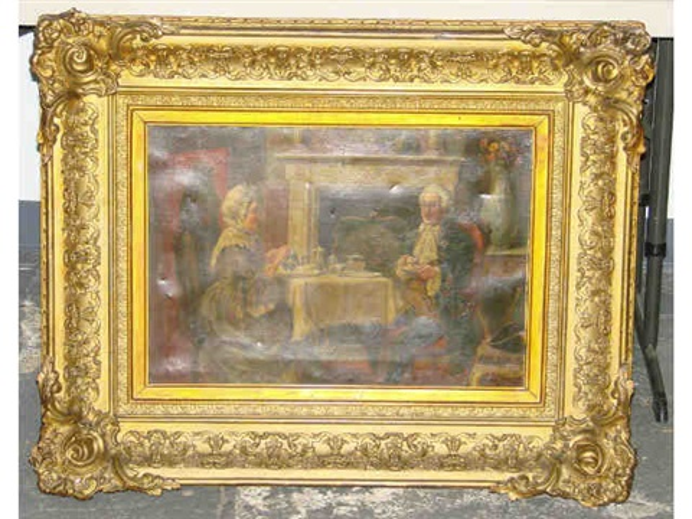 gentleman and lady having tea near a fireplace by alexander austen