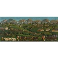appenzeller landschaft mit alpaufzug by christian vetsch