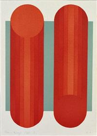 zwei kreiszylinder in rotabstufungen vor mintfarbenem grund by hans nagel