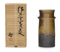 a cylindrical flower vase by fujiwara kei