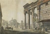 vue du temple d'antonin et faustine à roma by abraham ducros & giovanni volpato