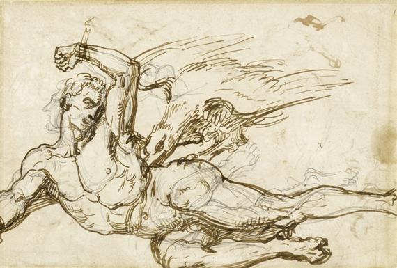 der gefesselte prometheus kampfszene mit kriegern und streitwagen verso by théodore géricault