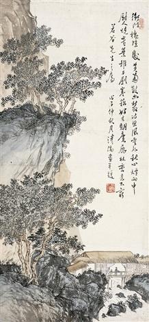 林峦幽居图 hermit dwelling in mountains by pu ru