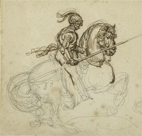 ritter in rüstung zu pferd (+ 2 others; 3 works) by théodore géricault
