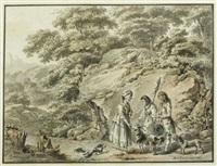 idyllische landschaft mit einem jungen paar, hirtenmädchen ziegenbock und hunden by balthasar anton dunker