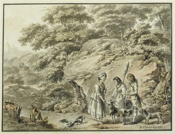 idyllische landschaft mit einem jungen paar hirtenmädchen ziegenbock und hunden by balthasar anton dunker