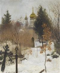 verschneiter friedhof mit orthodoxer kirche by hans dietzi