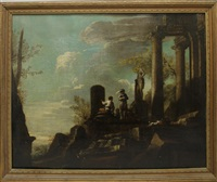 men standing on ruins by salvator rosa