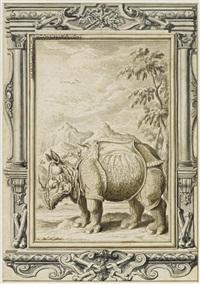 rhinozeros vor landschaftskulisse in architektonischer rahmung by johann melchior füssli