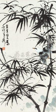 竹雀图 by xie zhiliu