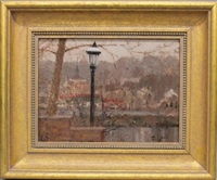 lamp post - looking at lambertville by anthony michael autorino