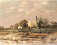 dorf in teichlandschaft by charles-edouard lemaitre