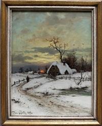 winterlandschaft mit dorfansicht in der abendröte by heinrich gogarten