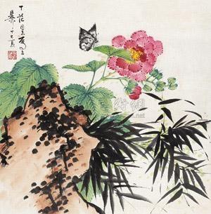竹石芙蓉 by xie zhiliu