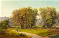 wanderer in sommerlicher landschaft by eduard caspar post