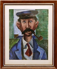 man smoking pipe by maurice bilton