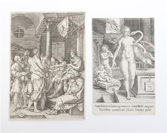 herkules in der weuge und leda mit dem schwam and two elders before the judge by heinrich aldegrever
