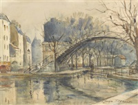 canal st-martin avec passerelle by georges dominique rouault