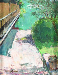 sommerlicher treppenweg am see in brienz by jeanne marguerite frey-surbek