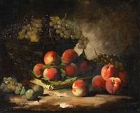 stilleben mit pfirsichen und trauben by marie guillaume charles leroux