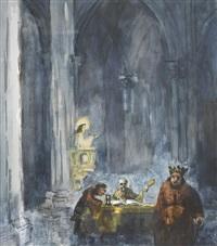 religiös-karikaturistische szene in einer kathedrale by walter krebs
