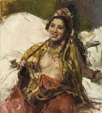 lady with pipe by romualdo locatelli