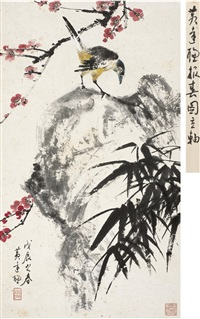 梅石喜鹊图 (plum blossom, rock and magpie) by huang dacong