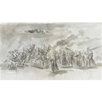 kavallerie in begleitung einer prozession by friedrich traffelet