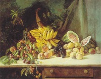 still life with fruit on a table by william hubacek