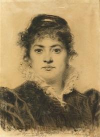 porträt einer dame by antonio barzaghi-cattaneo