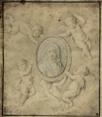four putti holding an oval portrait of a lady by peeter van avont