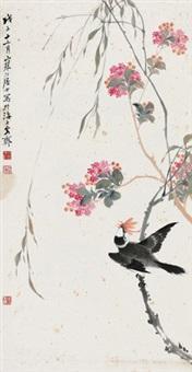 桃花飞雀 立轴 设色纸本 by jiang hanting