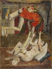 surrealistische komposition mit weiblichem akt by martin lauterburg
