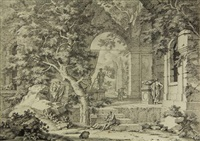 ruin with various people and statues by johannes de bosch