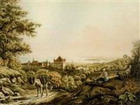 vue du château de lausanne by jean daniel huber