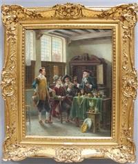 vier herren bei der kunstbewertung by lajos koloszvary