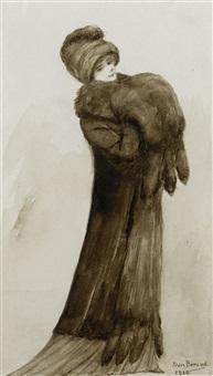 elegante dame im pelzmantel by jean béraud