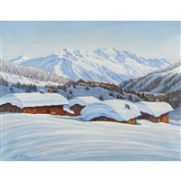 verschneite berglandschaft mit einem dorf by august weber