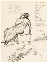 studies for seated figure (+ woman on a sofa, verso) by henry moore