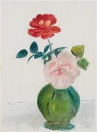zwei rosen in grüner, bauchiger vase by cuno amiet