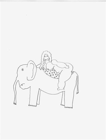 fatty on elephant by olaf breuning