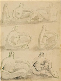 studies for sculpture: seven seated figures by henry moore
