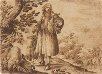 hunter with his catch of ducks by remigio cantagallina